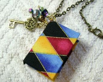 Book Lovers - Handmade Book Necklace - Book Jewelry - Book Pendant - Book Journal - Handmade Book - Diamond Fabric - BN-15