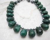 Chunky Statement Necklace  [Chunky Statement Necklace Green Agate Stone Statement Collar] PLAY THE FIELD
