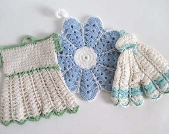 3 Crocheted Pot Holders Pants Dress Round Kitsch