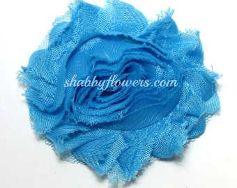 Mystic Blue Shabby Flowers - Wholesale Shabby Flowers - chiffon rose flower trim, shabby flower