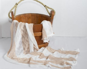 tan white sweater knit NEWBORN wrap fabric READY to SHIP