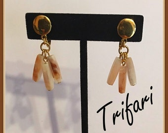 Vintage Trifari Clip on Earrings, Crown T, Dangle Beads, Brown, Beige, Off White, Marbelize, late 1950's late 1960's