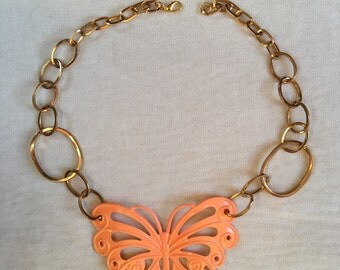 ORANGE BUTTERFLY NECKLACE, with Unique Goldtone Chain, Upcycled Jewelry, made From a Belt, Repurposed, oaak