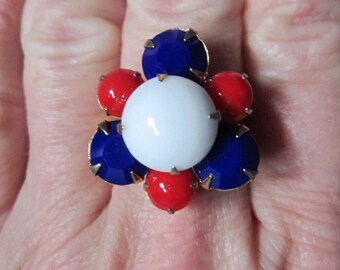 GLASS BEAD RING,  Patriotic, Upcycled Jewelry, Colored Glass Beads, Vintage, Red White & Blue, ooak, Adjustable Band, Under 10 Dollars