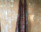 vintage.  70s Red Batik Cotton Halter Tent Dress // Free Size // Rare