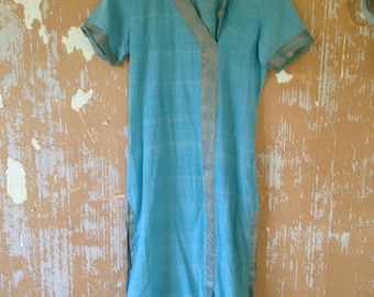 ON SALE vintage. 70s Thin Blue Cotton Bohemian Indian Tunic  // S to M