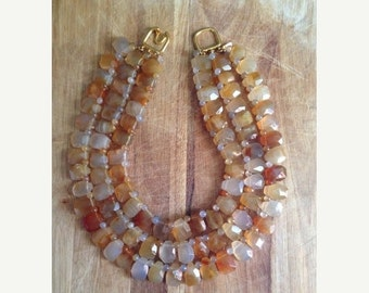 15% Off Memorial Day Sale vintage. Three Strand Citrine Beaded Necklace // Kenneth Lane