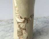Handstand tumbler cup vase drinking vessel marbled figure drawing agateware inlay cylinder teacup