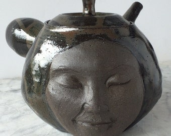Teapot Bliss Face Sculpture Smiling Serving Side Handle Kyusu Kitchen Art Vessel