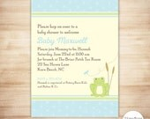 Blue Frog Baby Shower Invitation - Frog Baby Boy Shower - Froggy Baby Shower Invite - EDITABLE - INSTANT DOWNLOAD