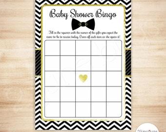 Bow Tie Baby Shower Bingo Cards   Bowtie Baby Shower Game   Boy Baby Shower
