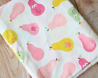 Happy Pear cartoon fruits print cotton fabric quarter
