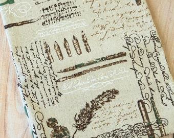 Vintage Style Eiffel & Feather Cotton Linen blend fabric quarter