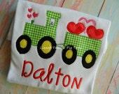 Tractor Valentine Shirt Boys Green tractor Valentine Shirt