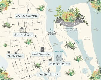 As Seen in BRIDES MAGAZINE - St Augustine, Florida Wedding Map