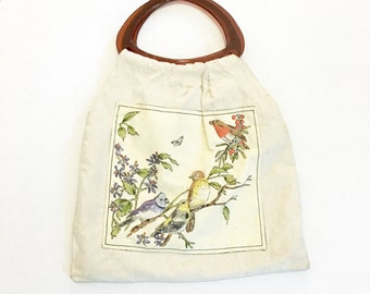 Vintage 70S Tote Bag, Fabric Purse, Quilted Birds, Flower Power