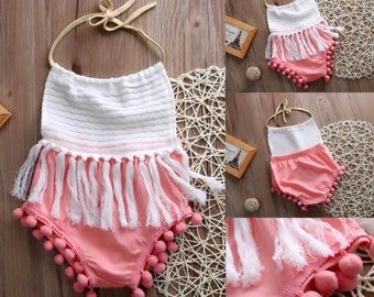 Pink Fringe Romper With Pompoms Infant Toddler Girls First Birthday Photo Prop Outfit