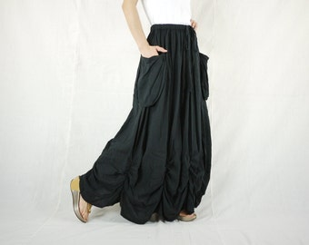 PLUS SIZE SKIRT...Bring Me To The Moon - Steampunk Maxi Flare Black Cotton Skirt With Ruching Detail Around Bottom Hem