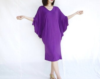 Casual Chic Minimalist Oversize V Neck Purple Rayon Jersey Batwing Sleeve Dress Women Tops Dresss
