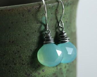 Blue Gemstone Earrings, Beach Jewelry, Aqua Blue Earrings, Sterling Silver