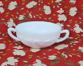 Vitrock Cream Soup Bowl, 1930s Era Anchor Hocking Glass, White Milk Glass, 2 handle