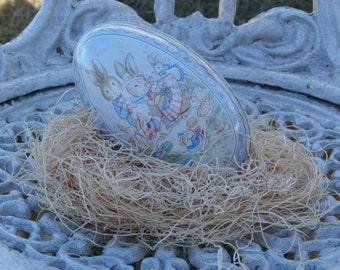 Vintage Tin Easter Egg, Bunny Picnic, Pastel Colors, Larger 5 inch egg for your basket
