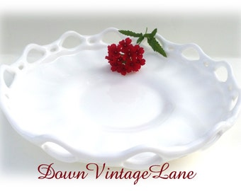 Beautiful Milk Glass Lacey Edge Lattice Edge Bowl Vintage Milk Glass Dish