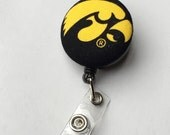 ID Badge Holder Retractable in IOWA Hawkeyes, Sports Badge Reel, Ready to Ship, Nurse ID Badge Reel, University of Iowa