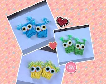 Toddler Gloves, Crochet Owl Gloves, Winter Fingerless  Gloves, Kid's Gloves