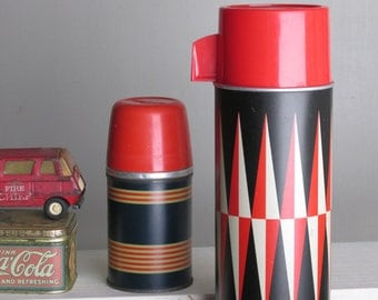 home decor - 2 thermos bottles - red-black- mid century - vintage - retro camping