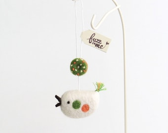 Felt miniature doughnut and bird ornament - green, salmon orange, white. Needle felted Spring decor, Easter gift