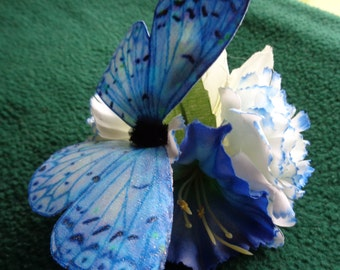 Handmade Azure blue butterfly floral hairclip