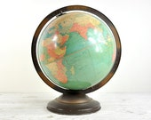Vintage World Globe, 1930s Replogle Globe, Art Deco Globe, Office Decor