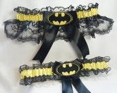 Handmade Batman wedding garters black and yellow garter