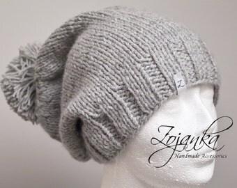 Chunky winter KNIT beanie, hat, winter slouchy beanie, fall beanie, grey knit hat