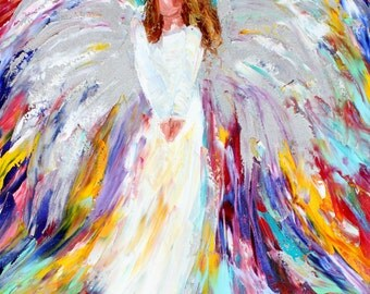 Angel of Light painting original oil abstract palette knife impressionism on canvas fine art by Karen Tarlton