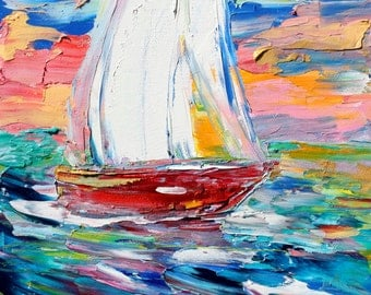 Sailing Away painting original oil abstract impressionism fine art impasto on canvas by Karen Tarlton