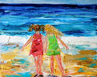 Original oil painting Beach Babes abstract palette knife impressionism on canvas fine art by Karen Tarlton
