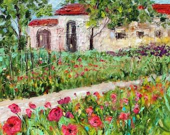 Original oil painting Tuscany Sun landscape palette knife impressionism on canvas fine art by Karen Tarlton