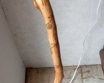 Hand crafted walking staff, or walking stick wood burned designs birds and spider webs