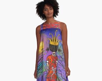 Courage, Girl With Crown A-Line Dress, Women Sizes XS~2XL, Original Art