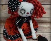 Red, Cloth Art  Ghost Goth Raggedy Ann style Doll ooak Handmade creepy cute