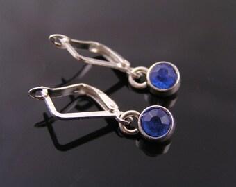 Tiny Blue Crystal Earrings, Blue and Silver Earrings, Something Blue, Small Earrings, Short Earrings, Pierced Earrings, Minimalist Jewelry