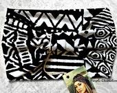 Black and White Tribal Print Turban WRAPsody Head Wrap Headband Knit Headwrap Yoga Headband Running Headband Hair Cover gifts for Her