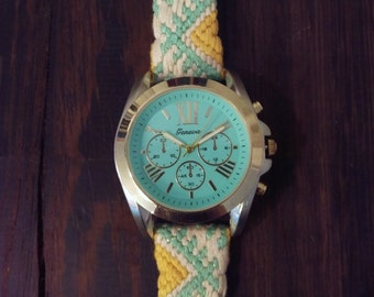 Large Sport Watch - Ella Watch with X-Large Silver and Gold Face and Silk and Cotton Embroidered Band