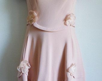 CARVEN Haute Couture 60s pastel pink silk crepe dress