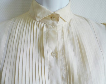 BIBA late 60s cream silk pleated bib-front blouse