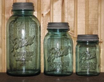 3 Ball Blue Mason Jars Canister Set 1/2 Gallon Quart Pint W Zinc Lids Kitchen Gift Storage Antique Fruit Jars