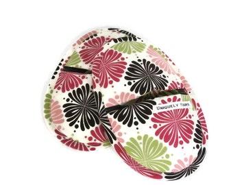Oven Mitt Potholders | Spring Pinks Retro Print Oven Mitts |  Favorite Hot Pad Mitt Set | Best Oval Oven Mitts | Moms Potholder Pair