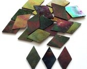 CLEARANCE 1 in. Black Rainbow Iridescent Diamond Shaped Stained Glass Mosaic Tiles/Mosaic Supplies/Mosaics/Mosaic Pieces